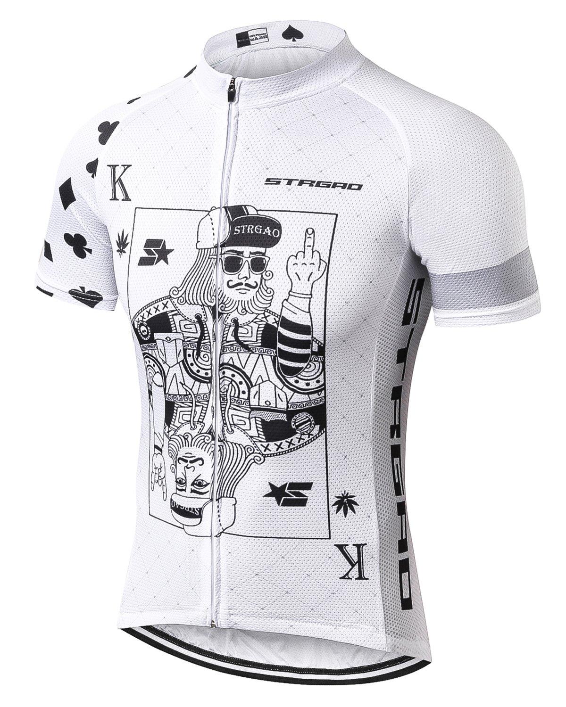 MR Strgao 男性用サイクリングジャージ 自転車半袖シャツ B0734T3GSQ  poker Medium