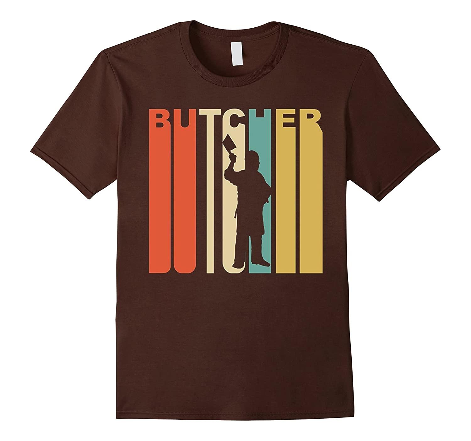 Retro 1970s Style Butcher Silhouette Meat Cutter T-Shirt-RT