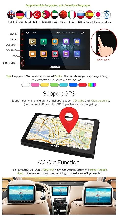 Pumpkin 7 Pulgadas Quad Core Doble Din Android 5.1 Lollipop Radio De Coche Con Parrot Bluetooth / GPS Navegación / Subwoofer / AUX / 3G / WIFI / Parrot ...