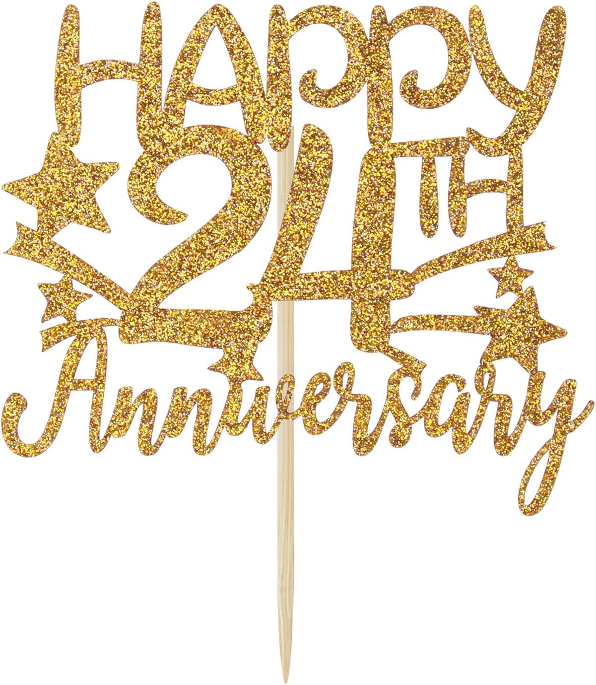 Gold Glitter Happy 24th Anniversary Cake Topper for Wedding ...