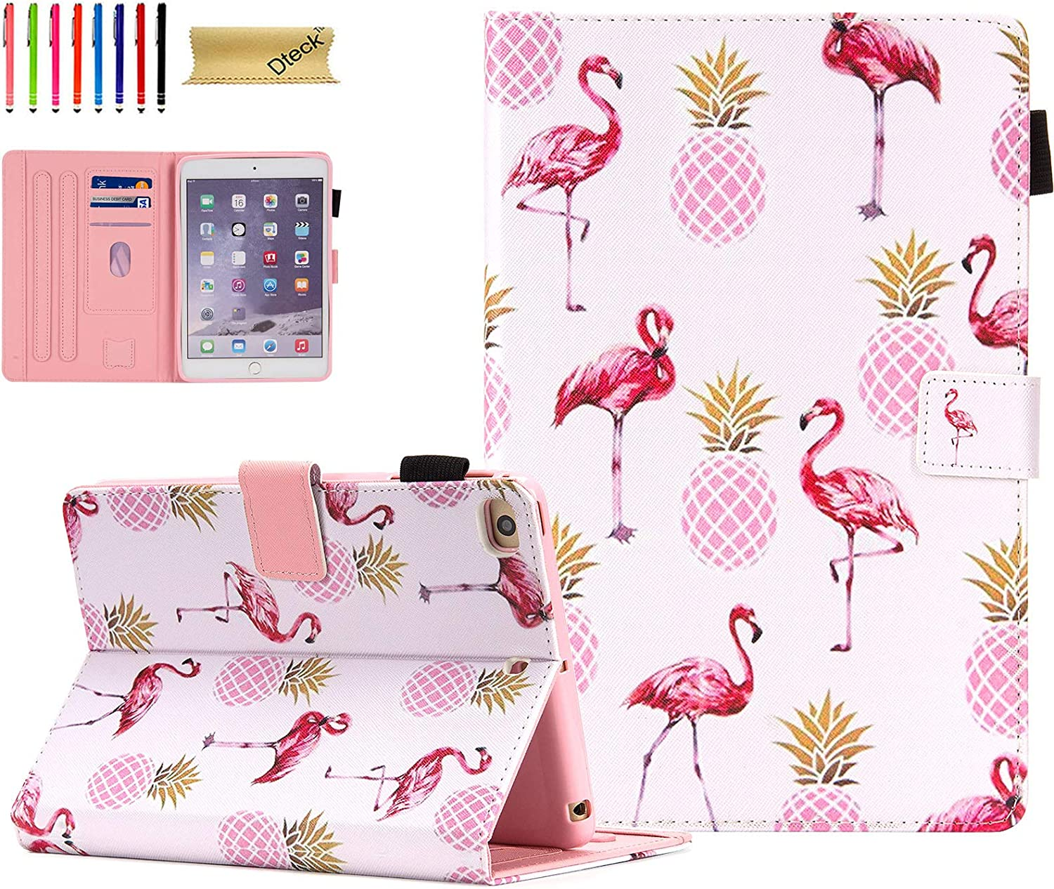 Dteck iPad Mini 5 Case/iPad Mini 4 Case/iPad Mini 3 2 1 Cases and Covers - Slim Folio Flip Stand Wallet Case Auto Wake/Sleep Magnet Smart Cover for Mini iPad 7.9 Inch Tablet, Pineapples & Flamingo