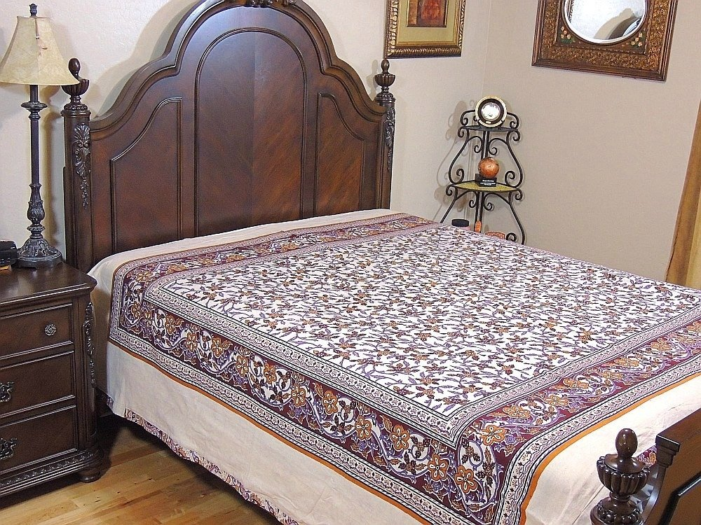 Ethnic Decor Cotton Duvet India Inspired Bedding Floral Paisley Reversible Style ~ Queen by NovaHaat (Image #1)