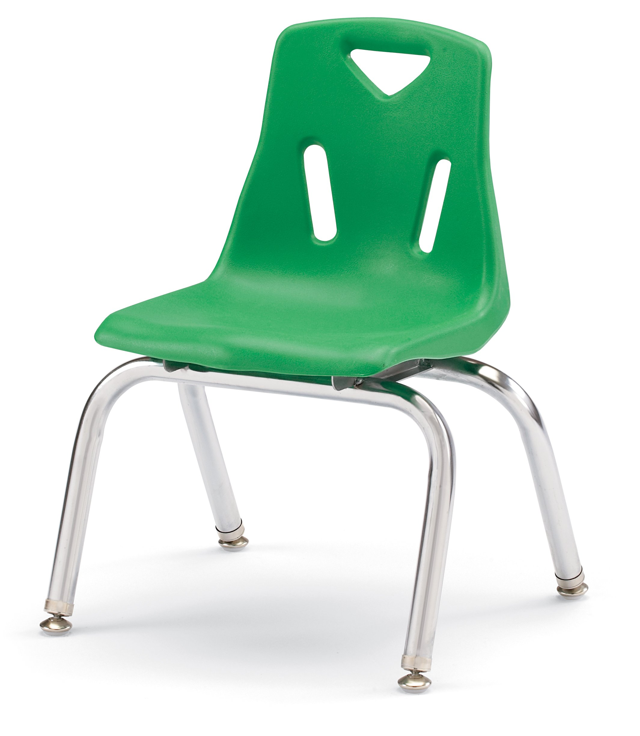 Berries 8142JC1119 Stacking Chair with Chrome-Plated Legs, 12'' Height, Green