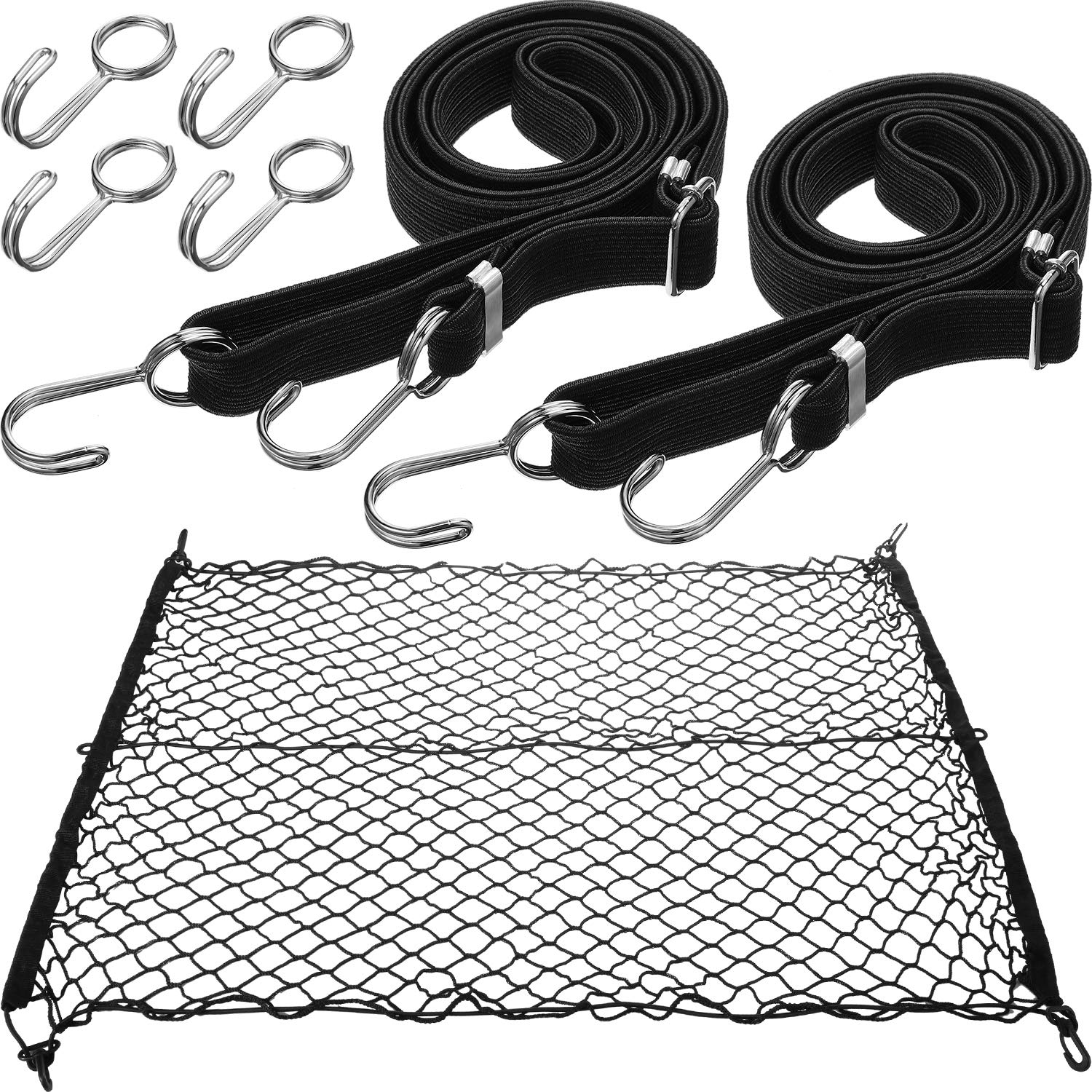 Boao Folding Outdoor Wagon Cargo Net with 2 Pieces Collapsible Utility Wagon Straps 4 Pieces Adjustable Hooks by Boao