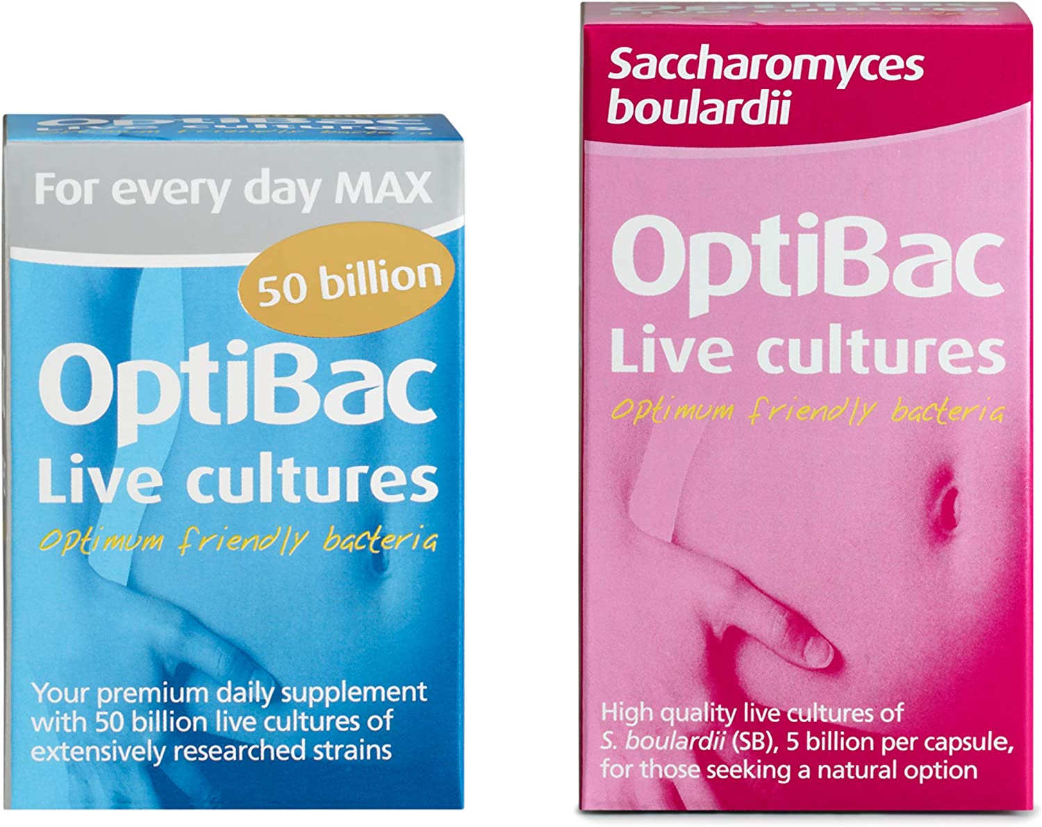 OptiBac for Every Day MAX, Pack of 30 Capsules & Saccharomyces Boulardii, Pack of 40 Capsules