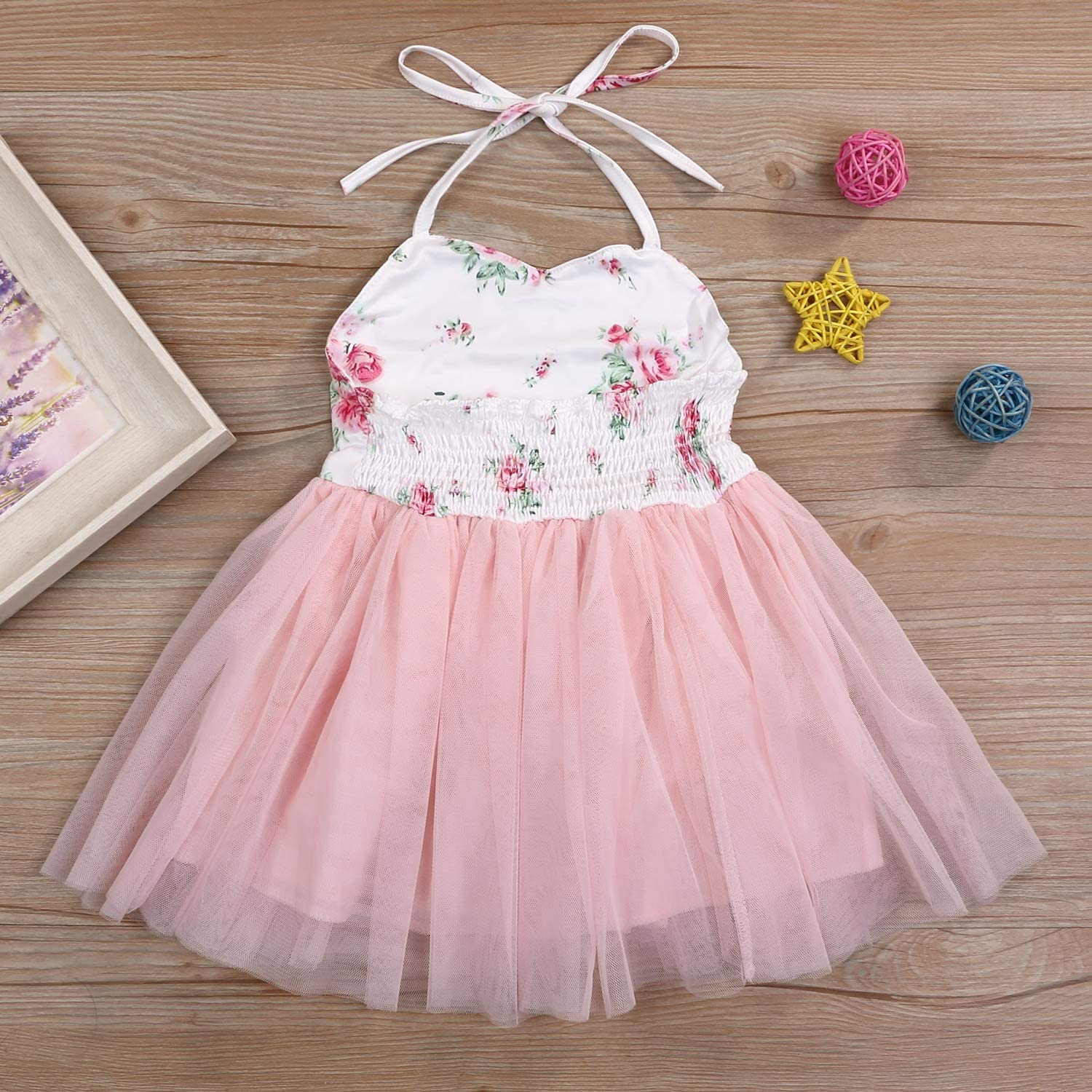 Baby Girl Summer Outfits 1st Birthday Romper Top Long Sleeve Floral Tutu Skirt 2Pcs Clothing Set