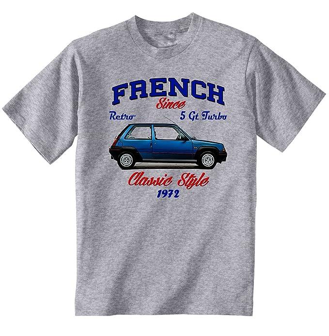 TEESANDENGINES Renault 5 GT Turbo 1 Camiseta Gris para Hombre de Algodon Size Small