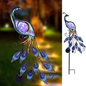 "Teresa's Collections 31.5"" Metal Garden Stake Solar LED Lights Solar Peacock Stake for Outdoor Patio Yard Decorations"
