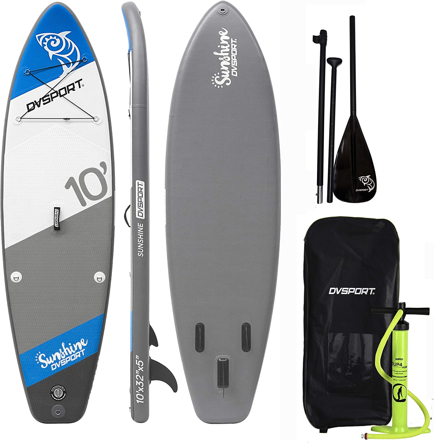 DVSPORT Inflatable 10 Stand Up Paddle Board 5 Inches Thick Double layers Complete Package ISUP Includes Adjustable Aluminum Paddle Travel Backpack BRAVO Double Function Hand Pump Water Proof Bag