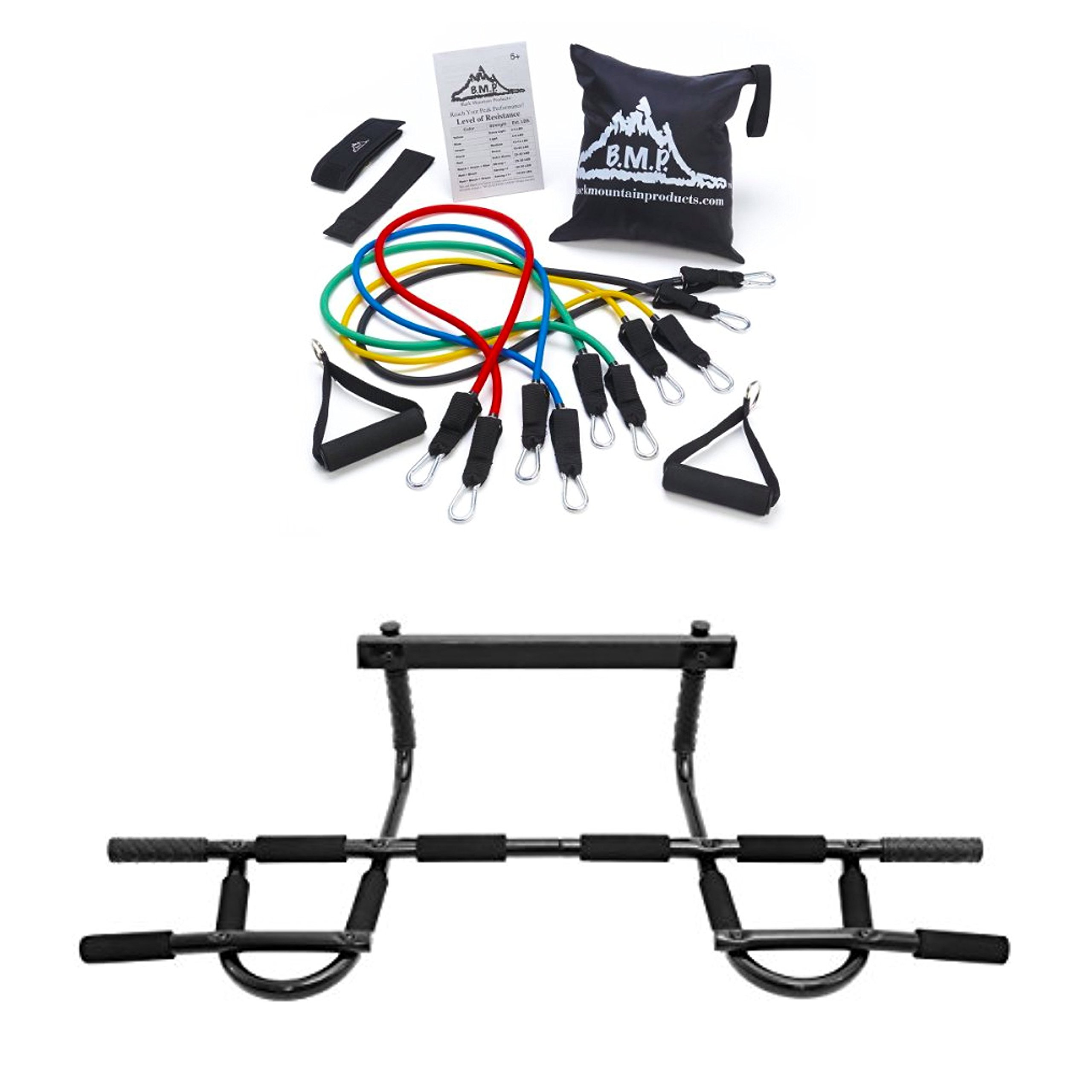 Bundle Includes 2 Items - Black Mountain Products Resistance Band Set with Door Anchor, Ankle Strap, Exercise Chart, and Resistance Band and ProSource Multi-Grip Chin-Up/Pull-Up Bar, Heavy Duty