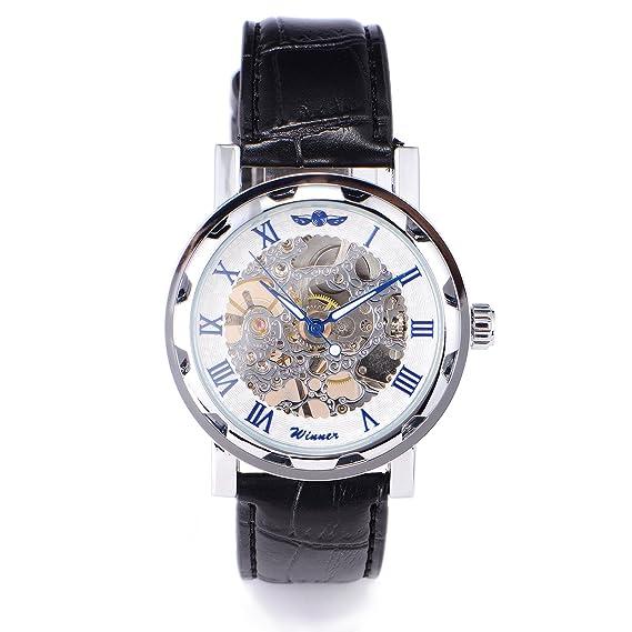 Winner - Reloj de pulsera hombre, piel, color negro