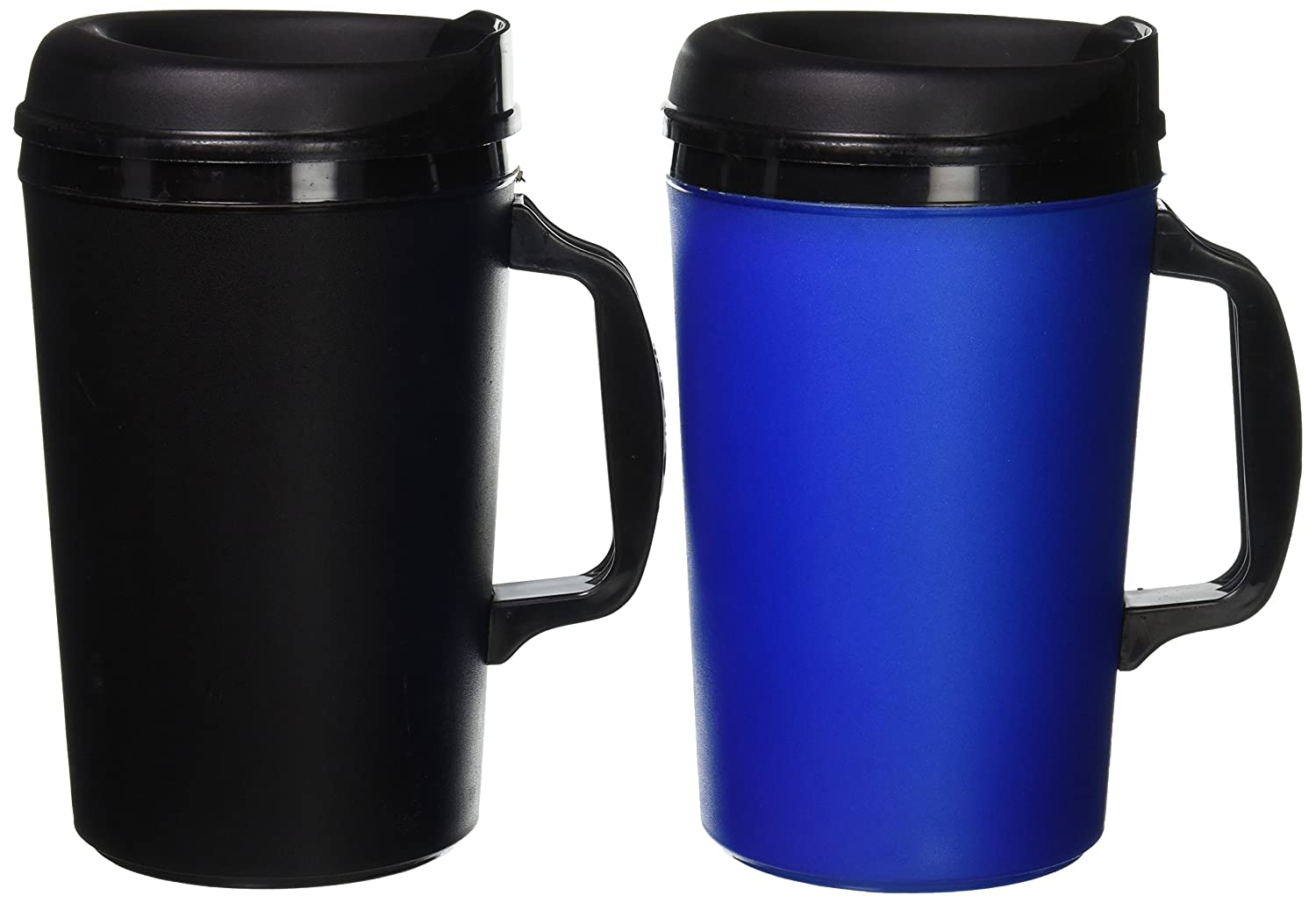 ThermoServ 2 Foam Insulated Coffee Mugs 34 oz (1) Blue & (1) Black 34ozblbk