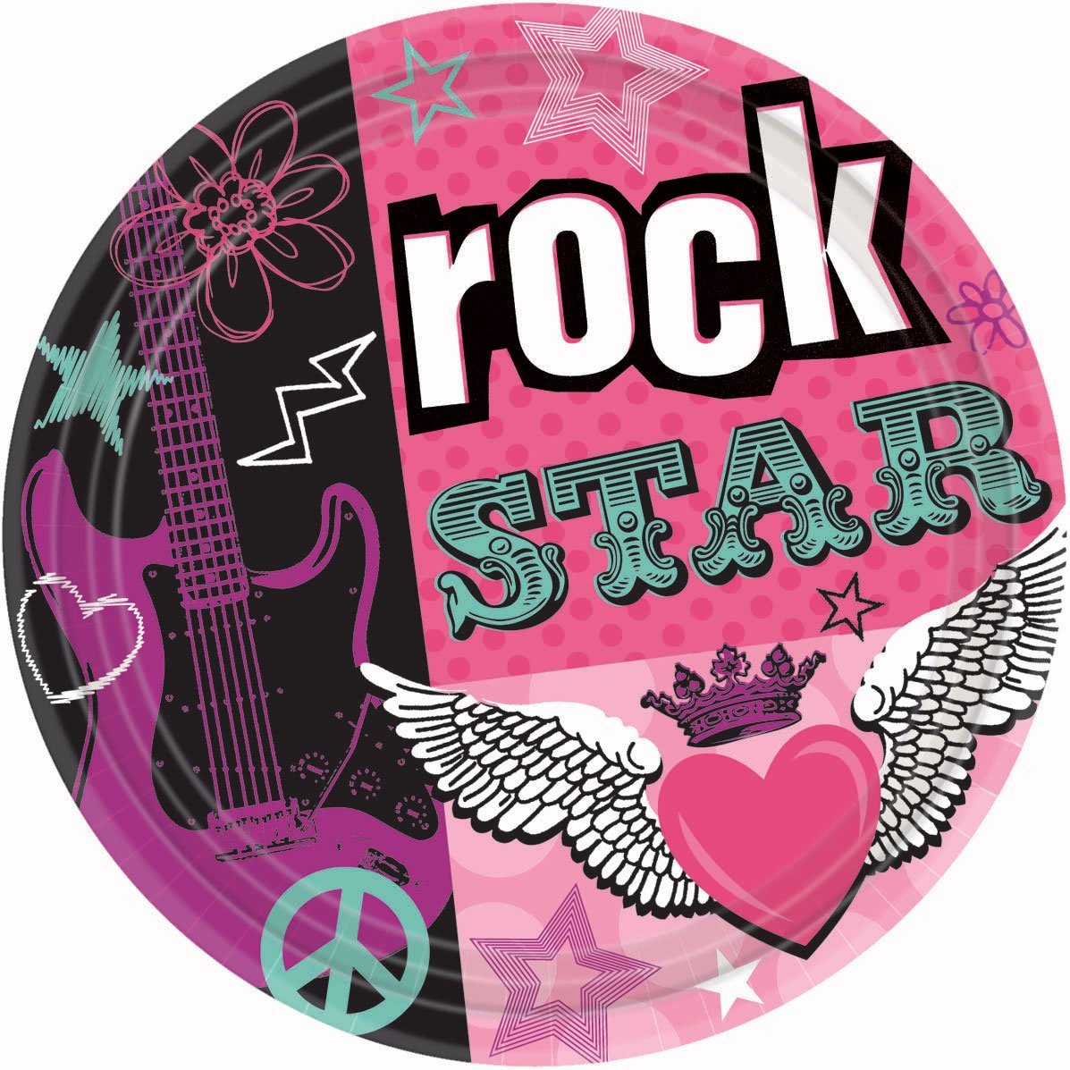 amscan Trendy Rocker Girl Birthday Party Lunch Paper Plates Disposable Tableware 8 Pack 9 Black//Pink