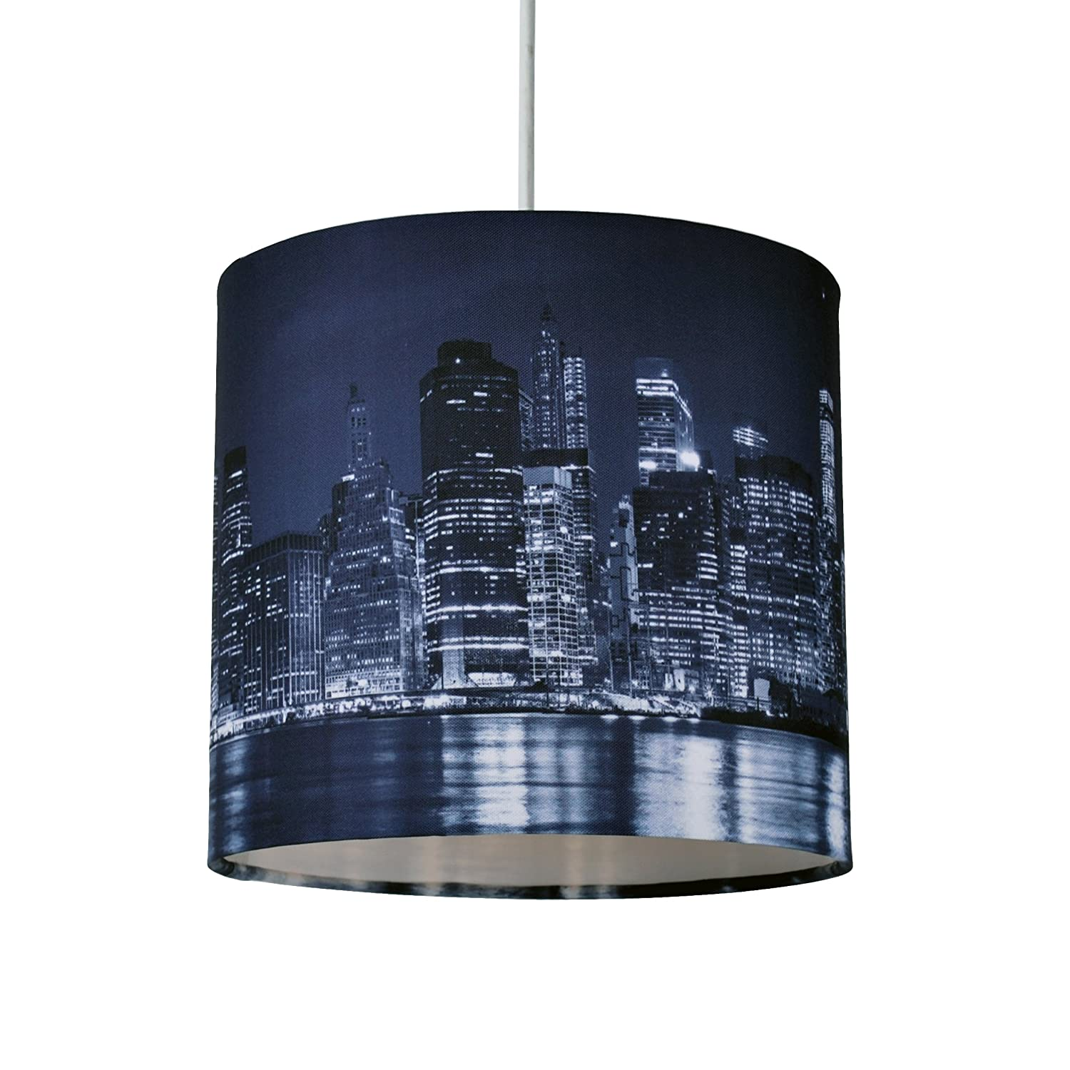 20cm Lamp Shade Ceiling Light Digital Printed Fabric New York Skyline At Night First Choice Lighting