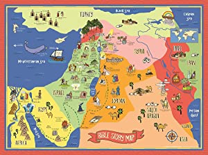 Bible Story Map Poster (Laminated) - Christian History & Art for Home Church Or Sunday Bible School