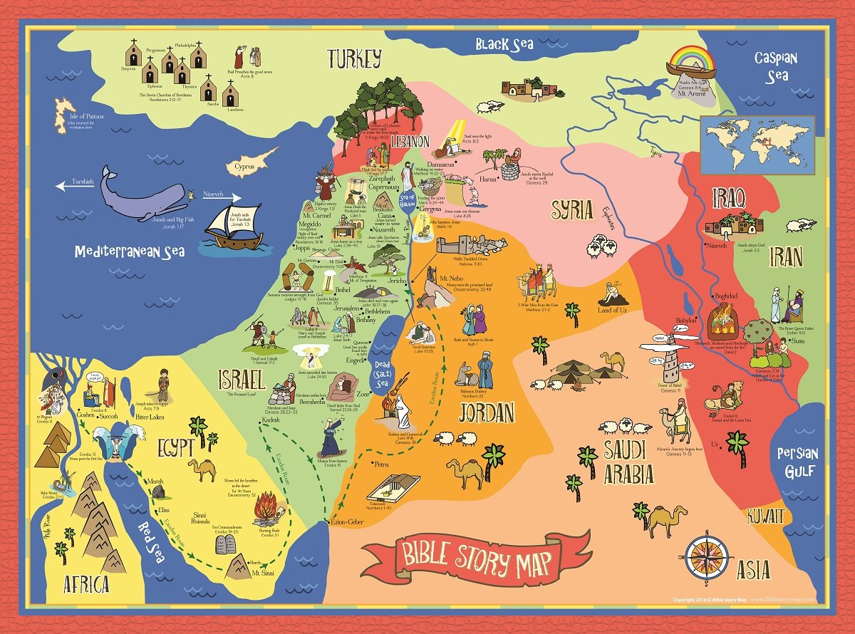 17 X 24 Laminated Bible Story Map Poster 17 X 24 Laminated