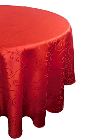 Christmas Concepts® 60u0026quot; Damask Red Round Tablecloth   Swirl Design    Home Or Christmas