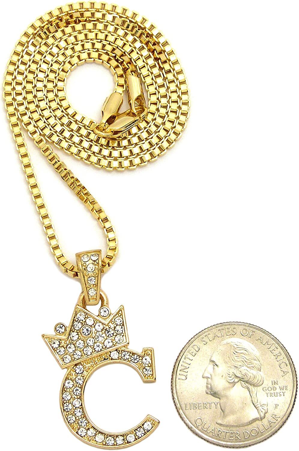 Simulated Diamond Studded Fashion Pendant Necklace in 14K Yellow Gold Plated With Box Chain