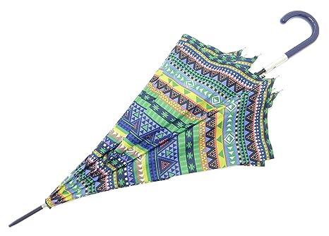 Paraguas largo de mujer Bisetti Étnico - Azul