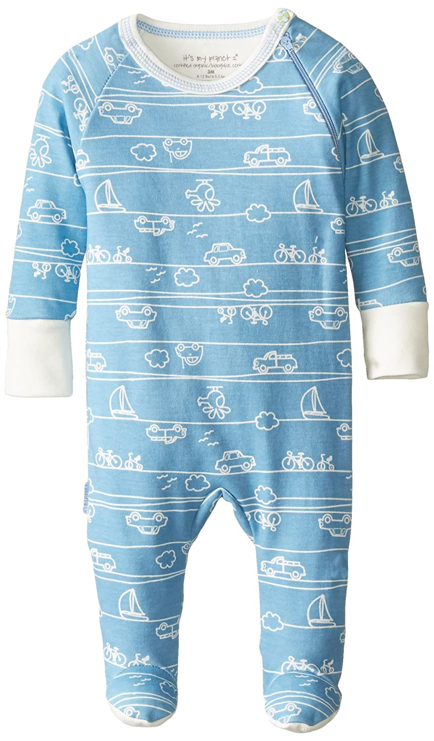 Kushies Baby It's My Planet 2 Side Zip Sleeper, Blue Print, 3 Months L1449-42