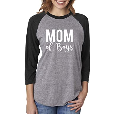 4d12e3c1 Amazon.com: ZeroGravitee Mom of Boys Unisex 3/4 Sleeve Baseball Raglan Tee:  Clothing