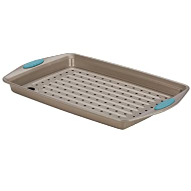 Rachael Ray 47426 Cucina Nonstick Bakeware Set with Grips, Nonstick Cookie Sheet / Baking Sheet and Crisper Pan - 2 Piece, Latte Brown with Agave Blue Handle Grips