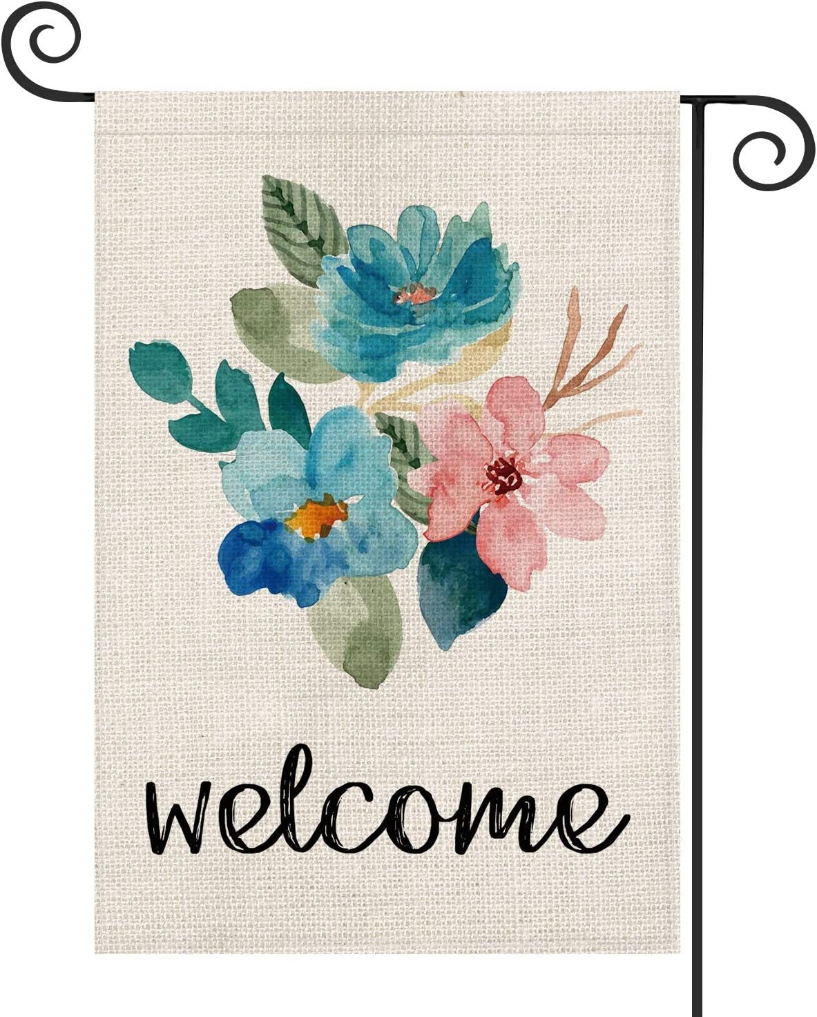 AVOIN Welcome Watercolor Flower Garden Flag Double Sided, Summer Spring Seasonal Yard Outdoor Decoration 12.5 x 18 Inch