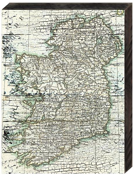Amazon Com Amonogram Art Unlimited Map Of Ireland Rustic Wooden