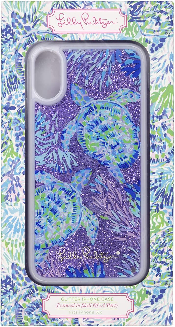 Lilly Pulitzer Women's Purple/Blue Glitter Bomb iPhone XR Case, Shell of a Party