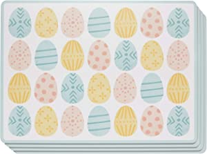 Now Designs Cork-Backed Hard Placemat, Easter Eggs - 11.75 x 15.75 in   Set of 4