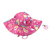 i play. Baby Girls' Reversible Brim Sun Protection Hat, Hot Pink Cabana, 0-6 Months