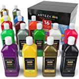 ARTEZA Premium Kids Tempera Paint, 400 ml,16 Rich, Opaque Colours, Neon, Metallic, Glitter, and Standard Colours with an Easy Squeeze Bottle and an Easy Pour Spout, Ideal for Children, Hobby Painters