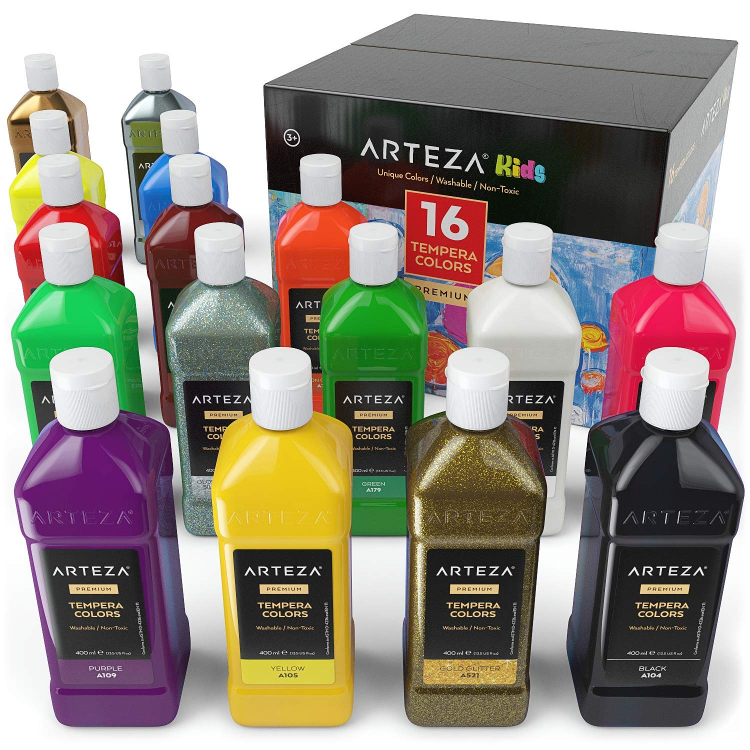 ARTEZA Tempera Paint Set for Kids (13.5 US fl oz./400 ml), 16 Rich, Non-Toxic, and Washable Colors Ideal for Finger Painting, Sponge Painting, and Poster Painting by ARTEZA