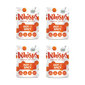 Whisps Hot & Spicy Cheddar Cheese Crisps   Back to School Snack, Keto Snack, Gluten Free, Zero Sugar, Low Carb, High Protein   2.12oz (4 Pack)