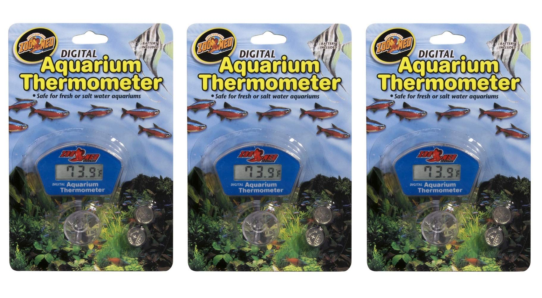 Zoo Med 3 Pack of Digital Aquarium Thermometers by Zoo Med
