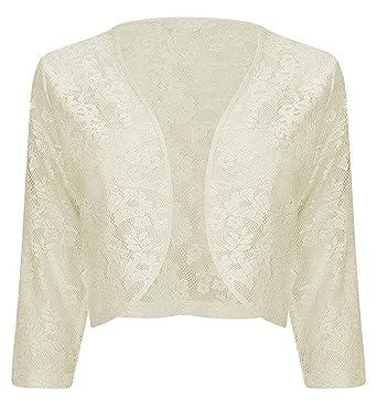 7d6b986cc44 Womens Ladies Cream 3/4 Sleeve LACE Shrug Cardigan Bolero TOP Plus Sizes 16  18 20 22
