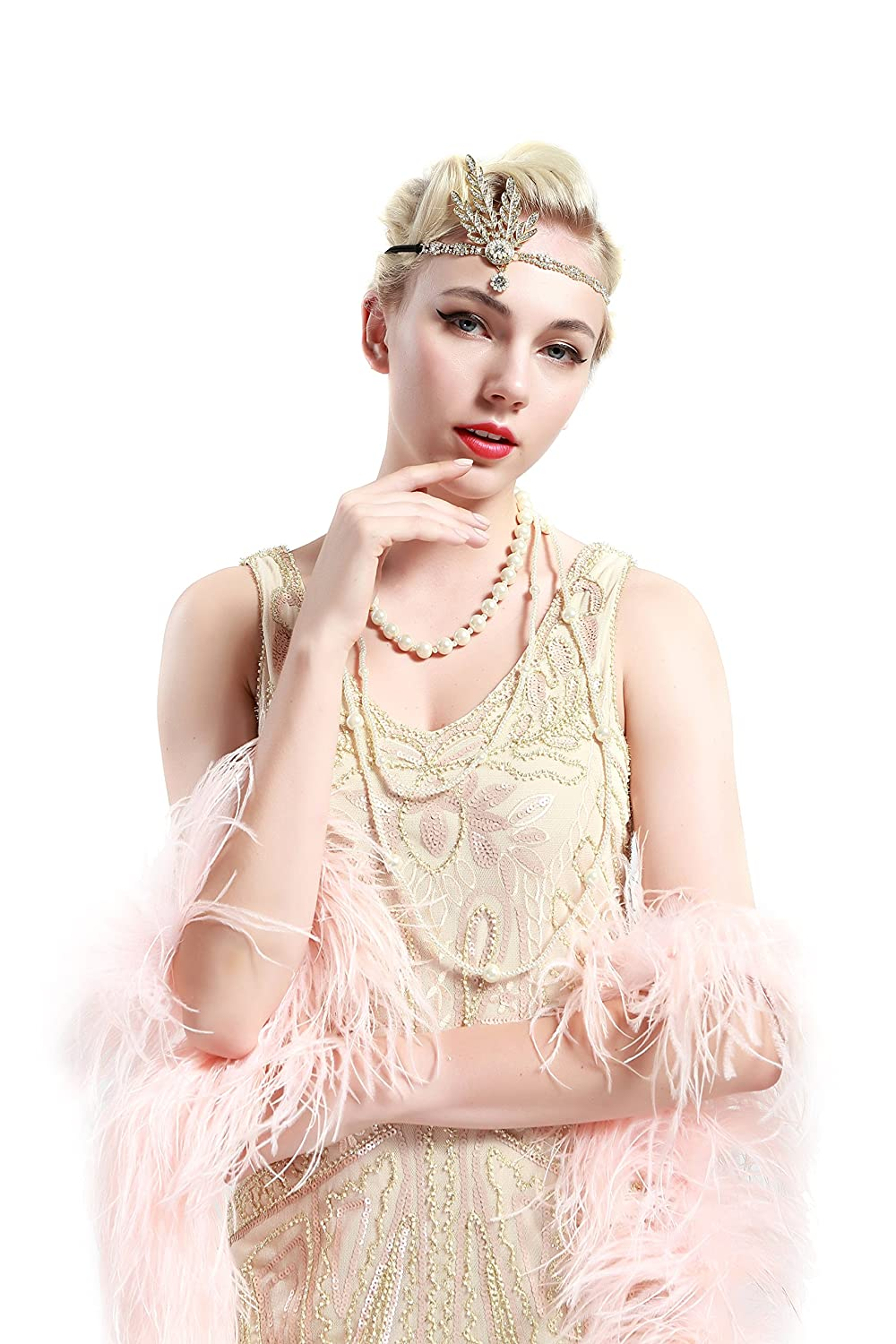 1920s Accessories | Great Gatsby Accessories Guide BABEYOND 1920s Headpiece Flapper Headpiece Vintage 1920s Headband Great Gatsby Accessories Women Roaring 20s Accessories with Gift Box £10.99 AT vintagedancer.com