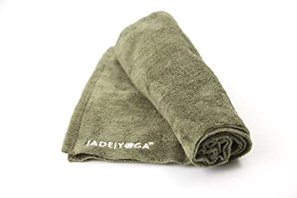 Jade Yoga Towel Yoga Microfiber Olive Green 14In X 24In, 1 Each
