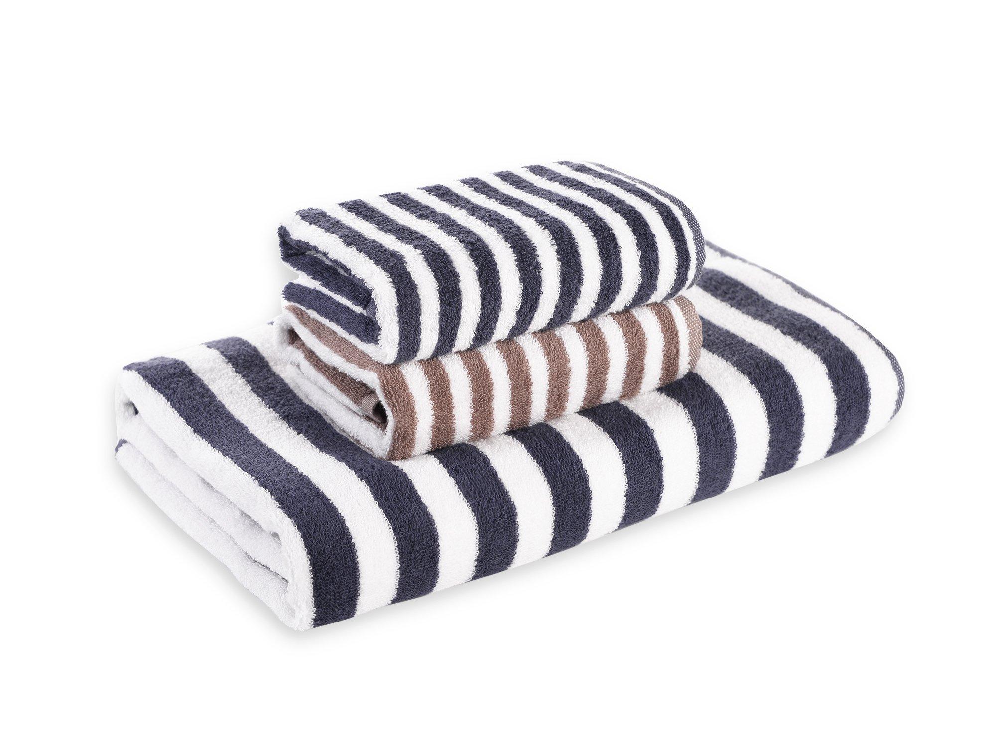 Worboo 3-Piece Bamboo Fiber Towel Set (2 Pieces Hand Towel set & 1 Pieces Bath Towel) Eco Friendly Gift Package (Blue+Brown)