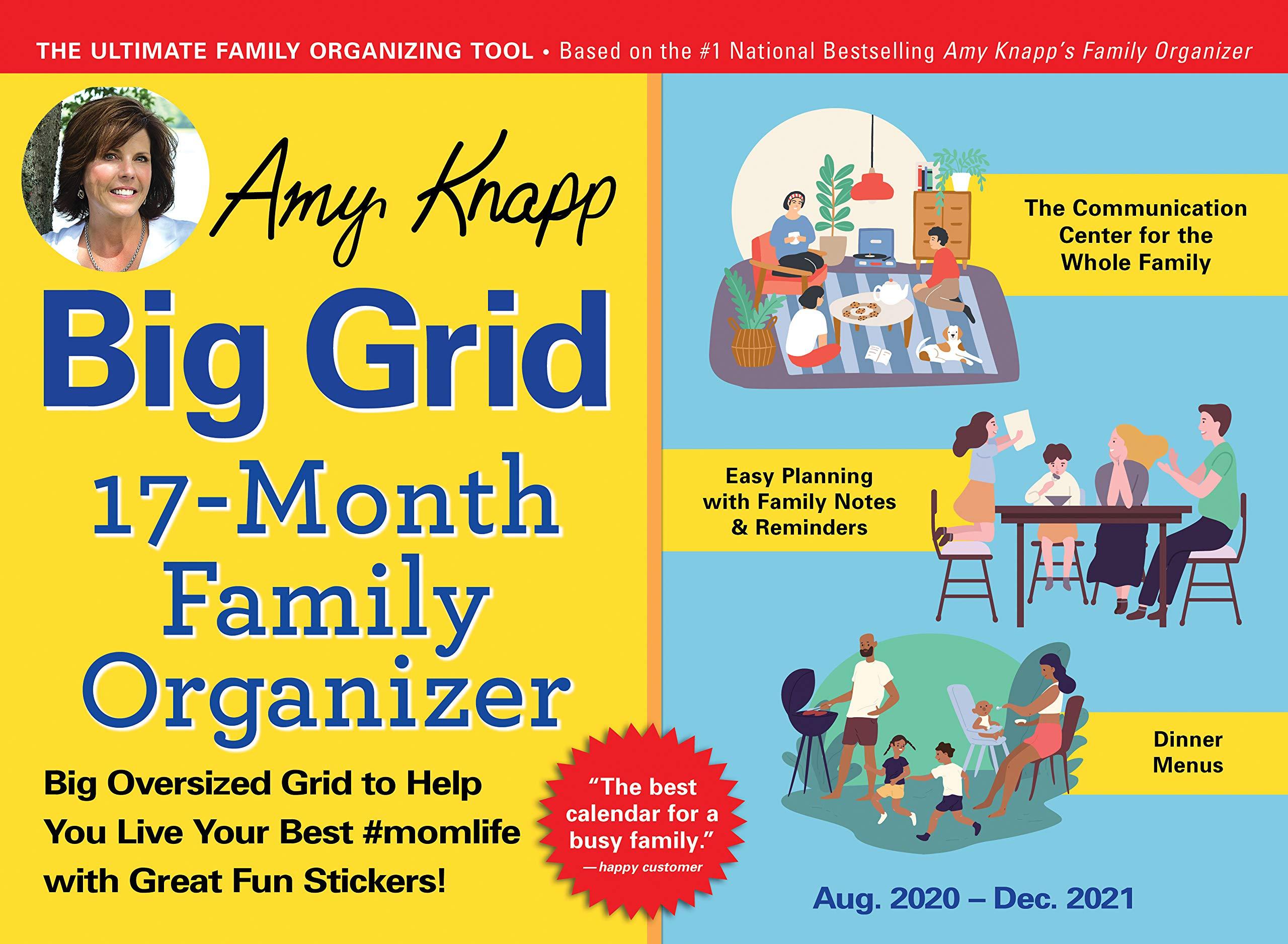 Image for 2021 Amy Knapp's Big Grid Family Organizer Wall Calendar: 17-Month Giant Fridge Calendar for Mom with 225+ Stickers (Hanging Family Plan Calendar, Thru December 2021)