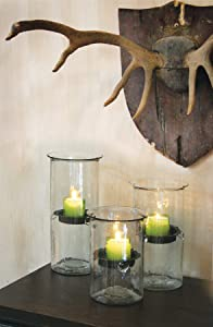 """8"""" Glass Candle Cylinder With Rustic Insert"""