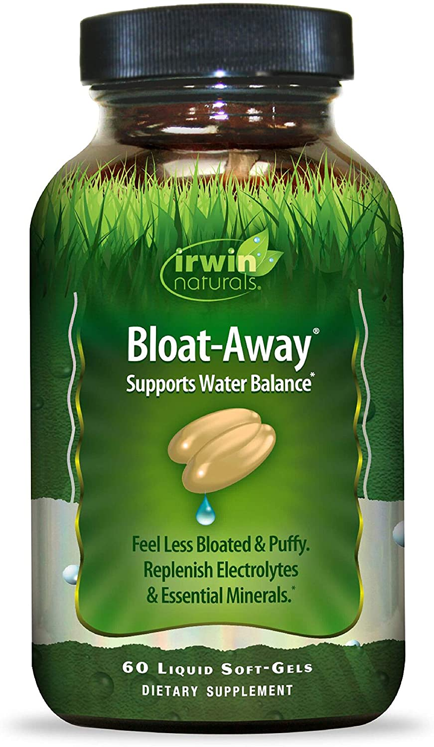 Irwin Naturals Bloat-Away - Water Balance Support - Replenish Electrolytes & Essential Minerals - 60 Liquid Softgels: Health & Personal Care