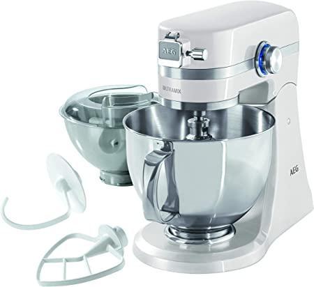 AEG KM4100 Robot de Cocina con Bol Batidora, Amasadora, Apta para Lavavajillas, Dos Boles ,10 Velocidades, Iluminación LED, Múltiples Varillas, 1000 W, 2.9L y 4.8L,Blanco: Amazon.es: Hogar