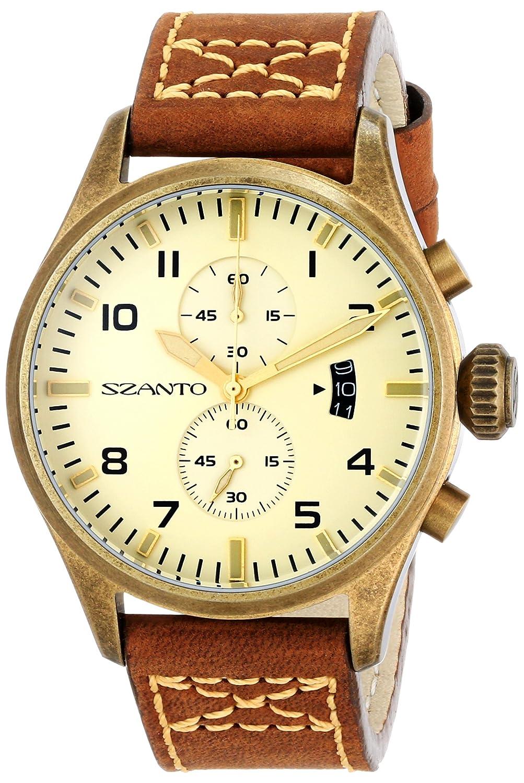 Szanto SZ4002 Herren Braun Lederband Beige Dial 4000 Serie Analog Watch