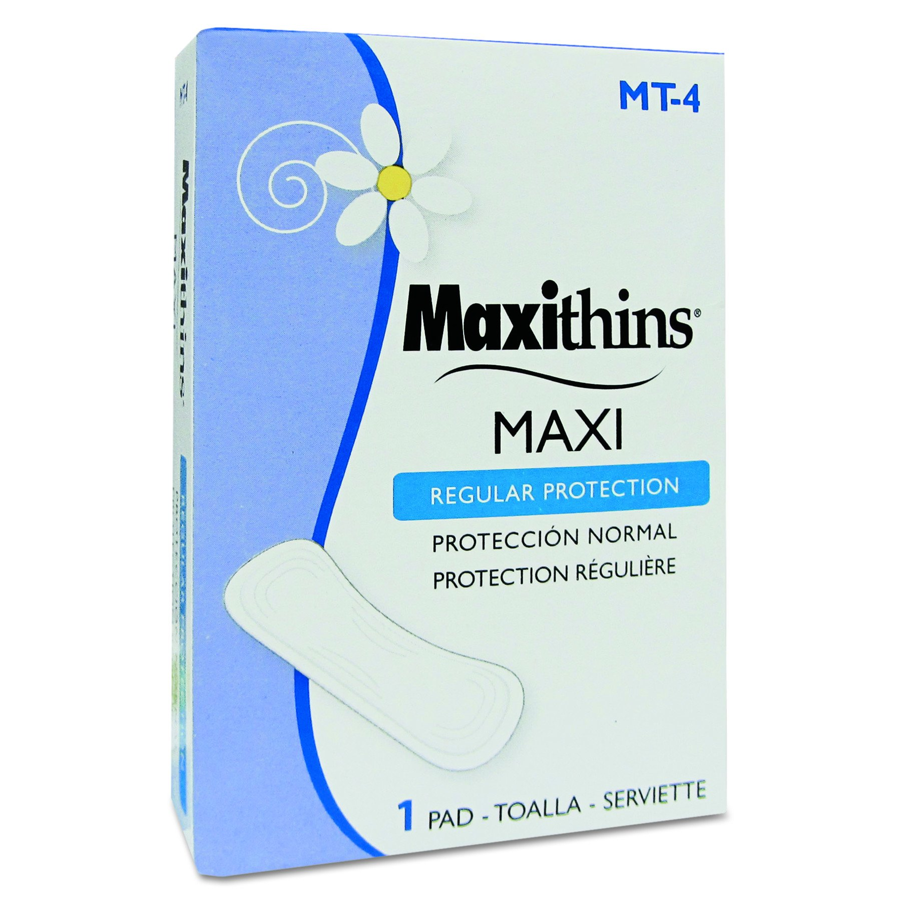 HOSPECO MT4 Maxithins Vended Sanitary Napkins #4 (Case of 250 Individually Boxed Napkins)