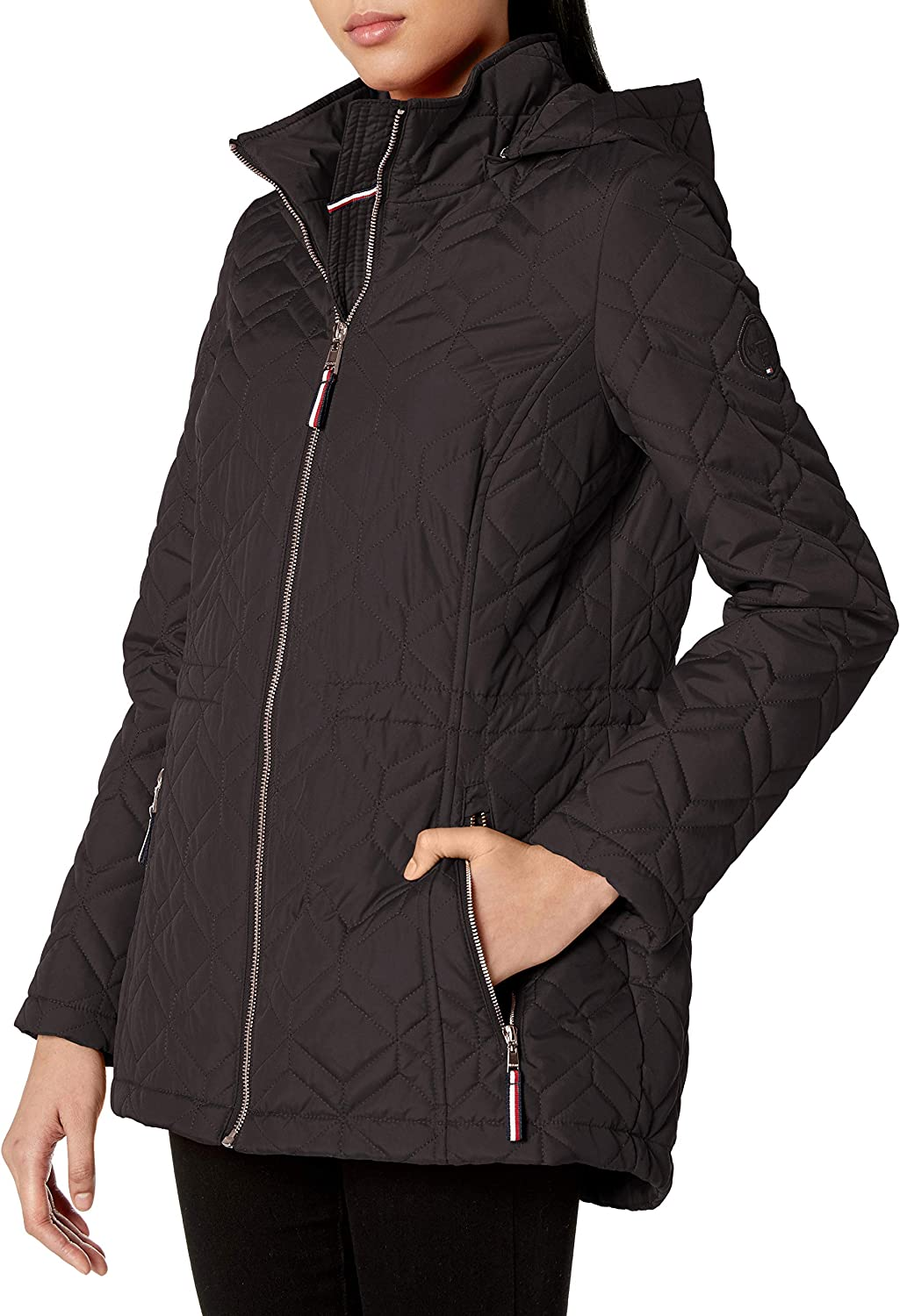 Tommy Hilfiger womens Diamond Quilt With Hood Quilted Jacket