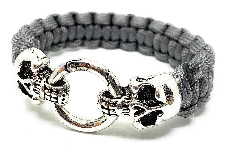 Paracord Armband-Original Skull-Totenkopf Armband-Biker-Schäkel-freie Farbwahl!