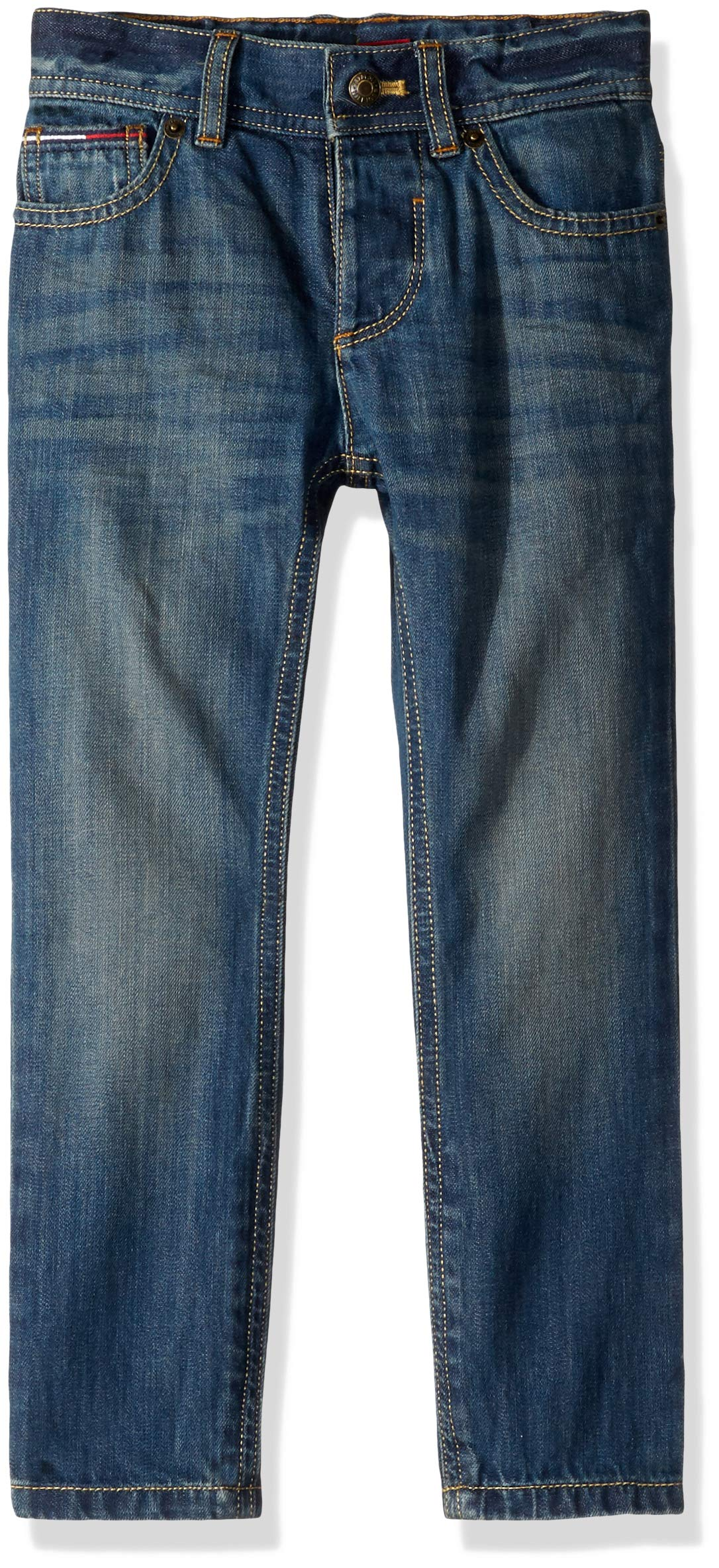 Tommy Hilfiger Boys' Adaptive Jeans Slim Straight Fit with Adjustable Waist and Hems, Jonah Wash Rint 14