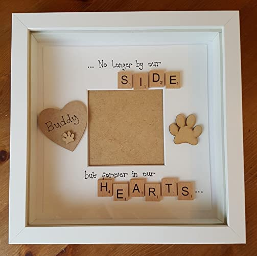 Personalised pet bereavement remembrance frame cat dog pawprint ...