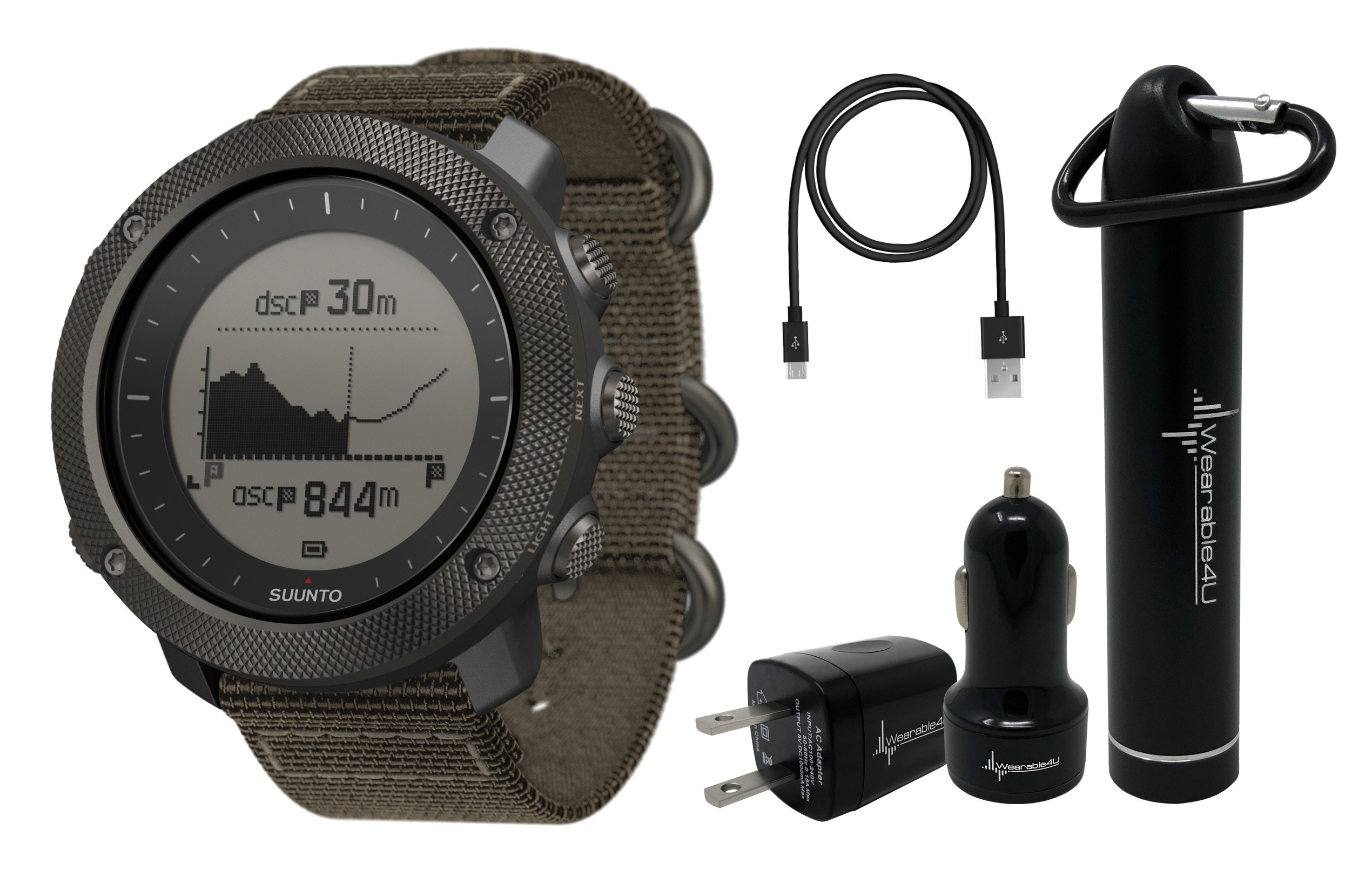 Suunto Traverse Alpha GPS/GLONASS Watch with Versatile Outdoor Functions for Fishing and Hunting and Wearable4U Ultimate Power Pack Bundle (Foliage)